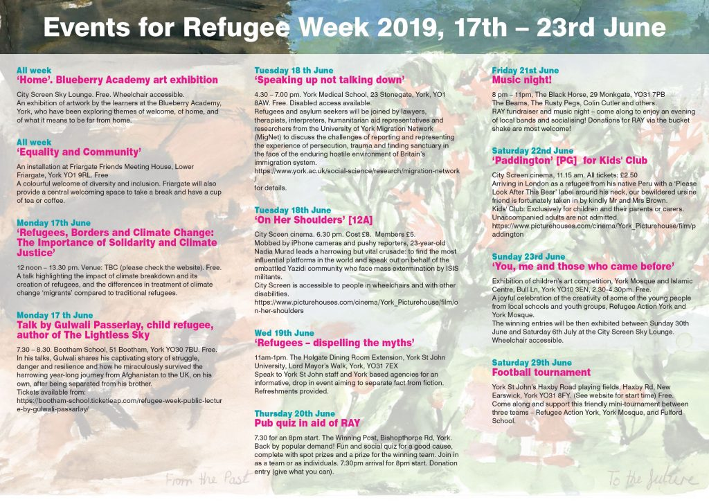 refugee week 2019 schedule